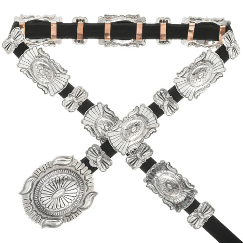 Navajo Hammered Sterling Concho Belt Traditional Patterns 31804