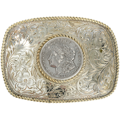 Gold Bright Cut Silver Engraving Belt Buckle 31834