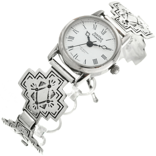 Ladies Sterling Silver Indian Cross Watch Bracelet 31841