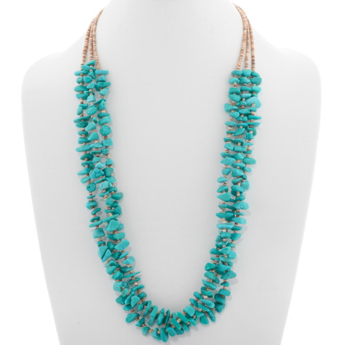 Navajo Turquoise Nugget Heishi Necklace 31858