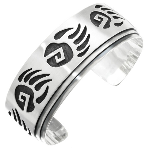 Navajo Sterling Silver Bear Paw Bracelet 32011