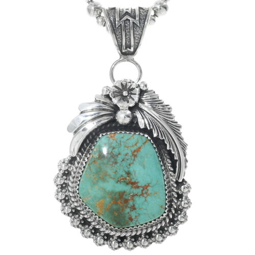 Green Turquoise Silver Pendant 32019