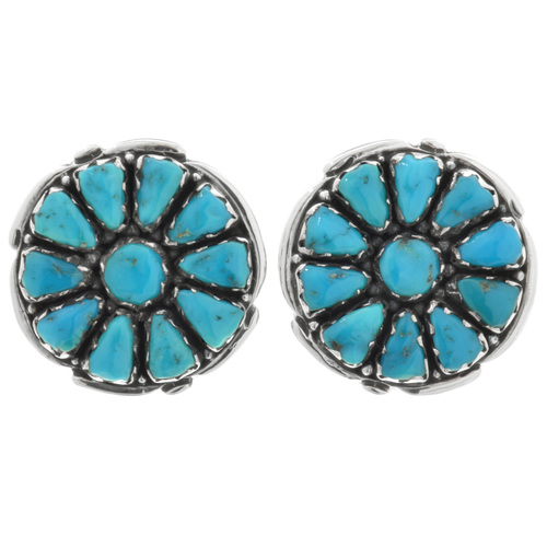 Zuni Turquoise Silver Cluster Earrings 32060