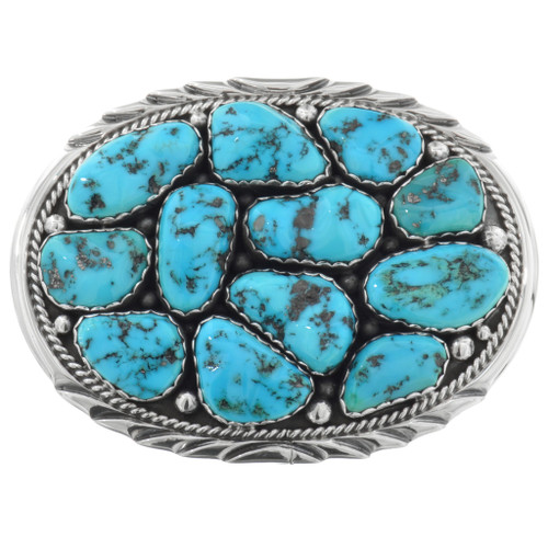 Zuni Turquoise Silver Belt Buckle 32061