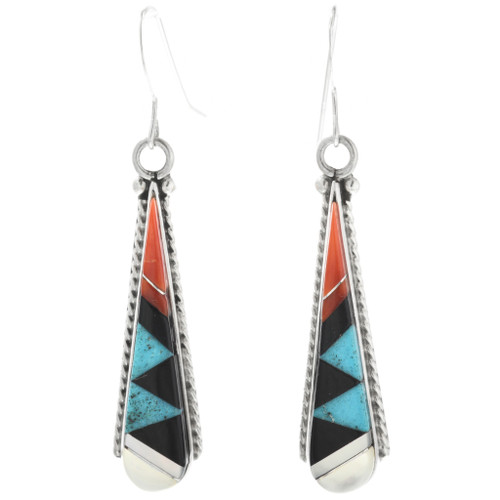 Zuni Inlay Pueblo Dangle Earrings 32107