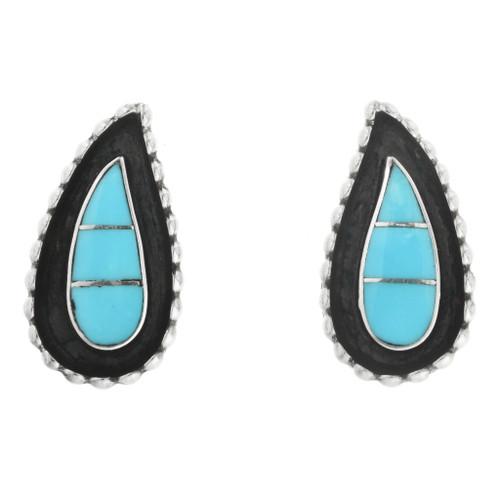Zuni Turquoise Teardrop Earrings 32136