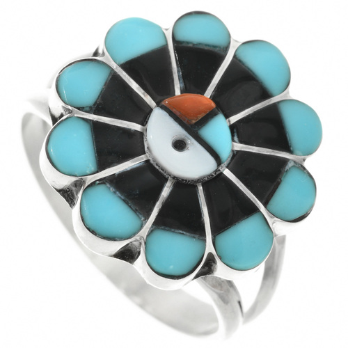 Zuni Turquoise Sunface Ring 32149