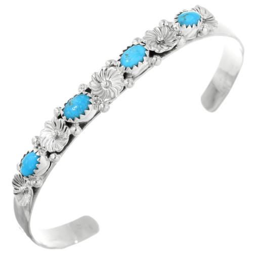 Turquoise Silver Flower Bracelet 32157