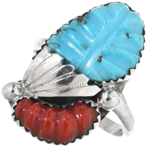 Carved Turquoise Zuni Ring 32168