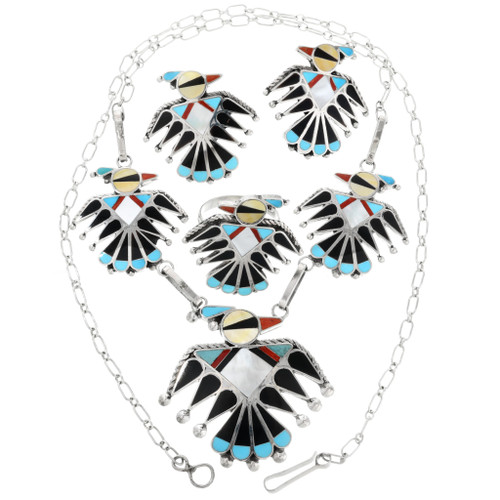 Native American Zuni Necklace Ring and Earrings Set 32180