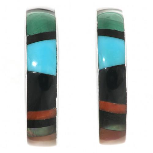 Multi Stone Turquoise Hoop Earrings 32185