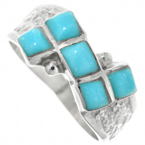 Inlaid Turquoise Silver Ring 32197