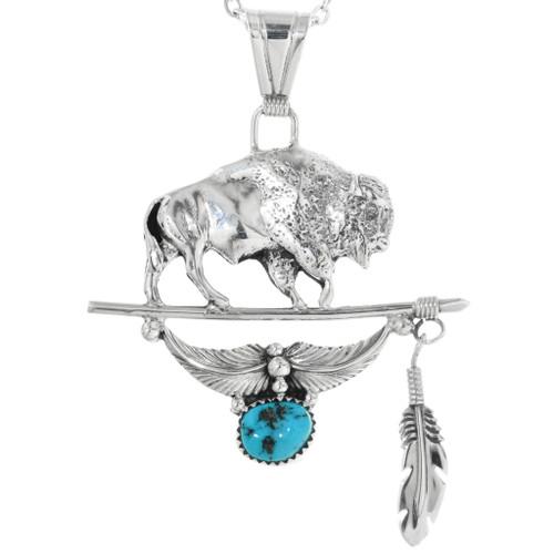 Navajo Silver Buffalo Pendant 32198