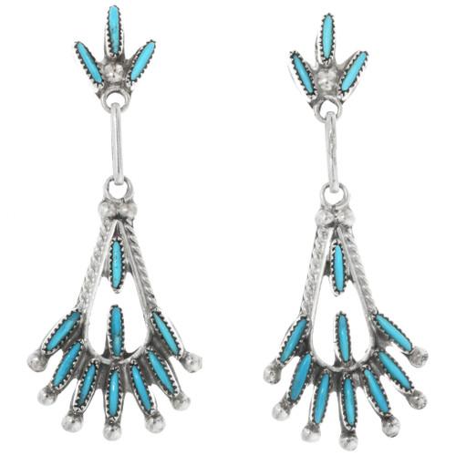 Zuni Needlepoint Turquoise Earrings 32206