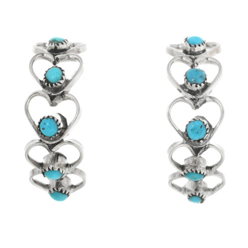 Zuni Turquoise Heart Earrings 32209