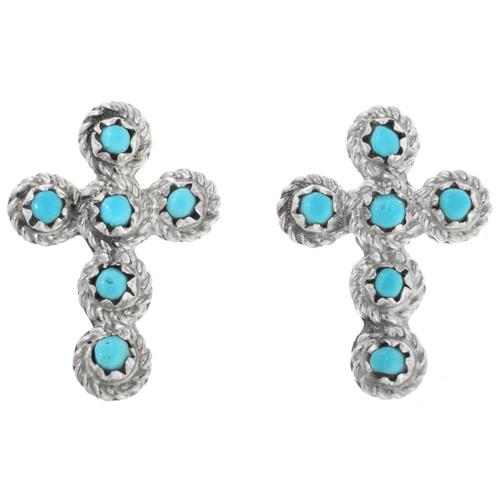 Turquoise Silver Cross Earrings 26407