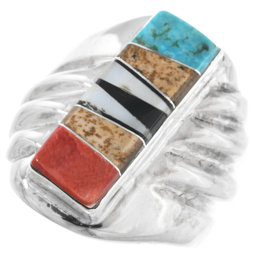 Inlaid Silver Turquoise Mens Ring 32224