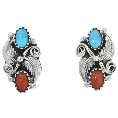 Navajo Turquoise Coral Earrings 32228