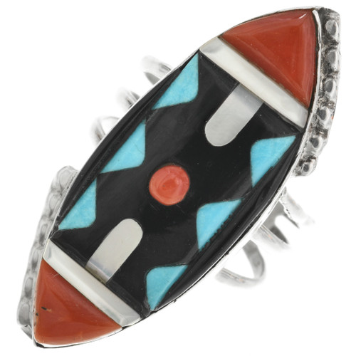 Turquoise Coral Silver Pointer Ring 32232