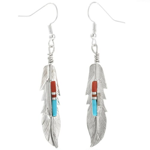 Sterling Silver Feather Earrings 32247