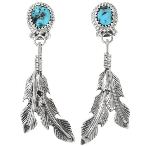 Turquoise Silver Feather Earrings 32249