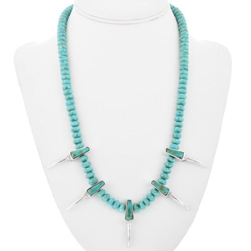 Turquoise Silver Claw Beaded Necklace 32250