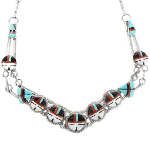 Zuni Sunface Kachina Turquoise Necklace 32288