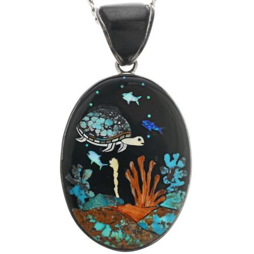 Vintage Inlaid Turquoise Sea Turtle Pendant 32295