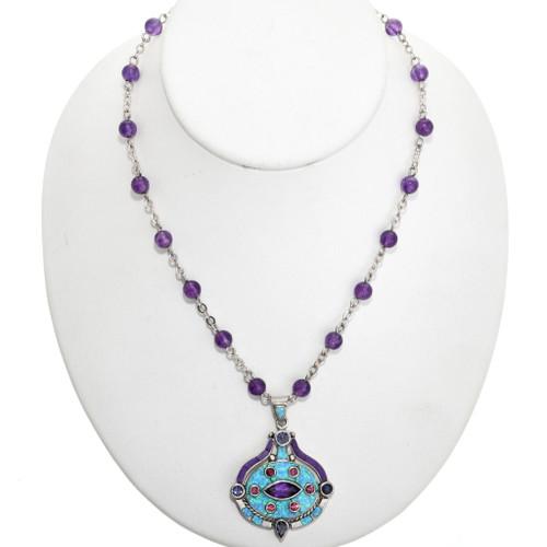Opal Amethyst Southwest Pendant Necklace 32297
