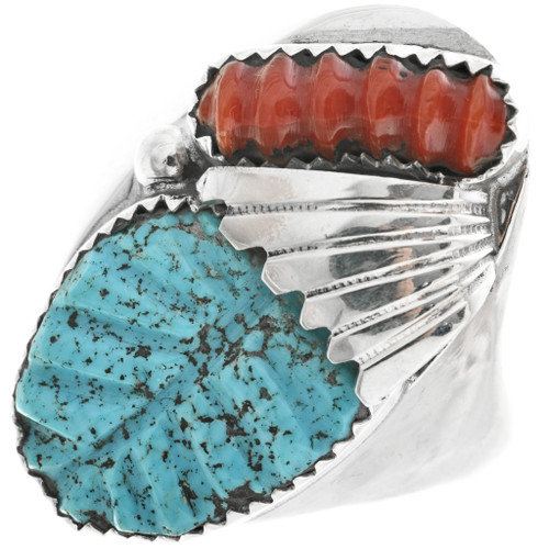 Carved Turquoise Coral Big Boy Ring 32300