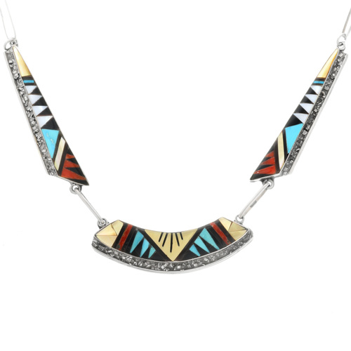 Old Pawn Zuni Inlaid Silver Necklace 32315