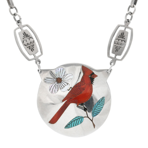 Vintage Zuni Cardinal Necklace 32329