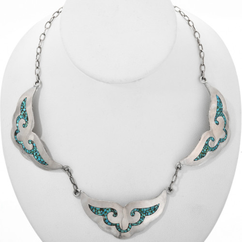 Old Pawn Navajo Turquoise Silver Necklace 32338