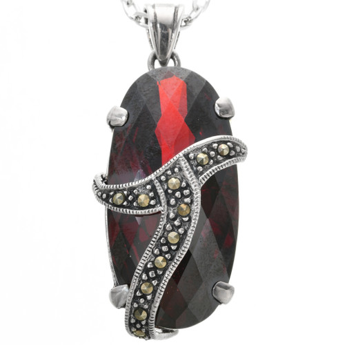 Vintage Garnet Marcasite Silver Pendant 32358