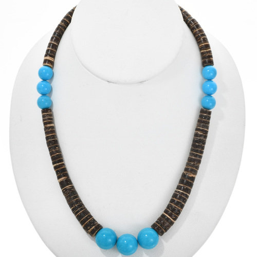 Native American Turquoise Shell Necklace 32359