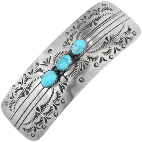 Navajo Turquoise Silver Hair Barrette 32363