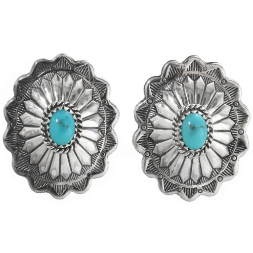 Turquoise Silver Concho Earrings 32365