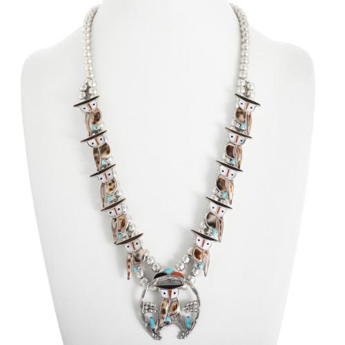 Vintage Zuni Owl Squash Blossom Necklace 32420