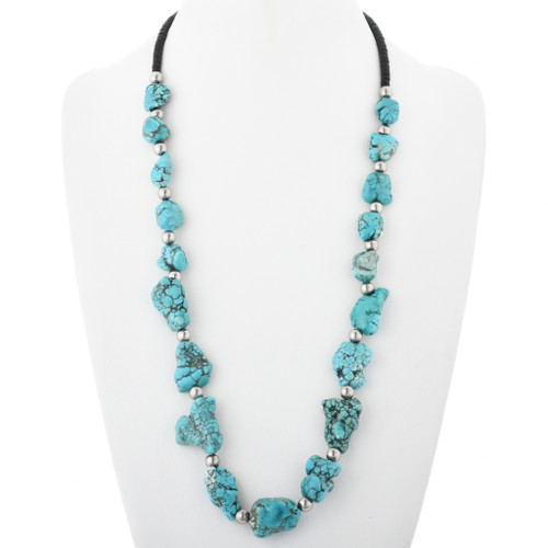 Navajo Turquoise Nugget Bead Necklace 32447