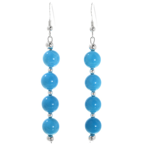 Native American Beaded Turquoise Earrings 32448