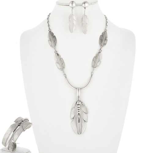 Vintage Silver Feather Necklace Set 32464