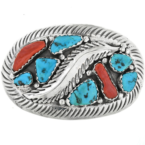 Zuni Turquoise Coral Belt Buckle 32499