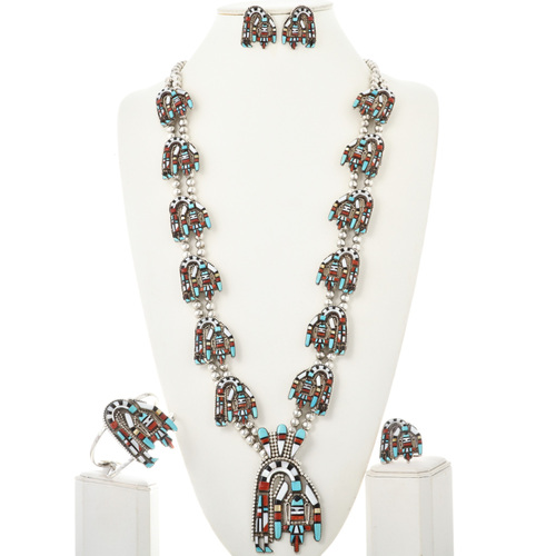 Rainbow Man Squash Blossom Necklace Set