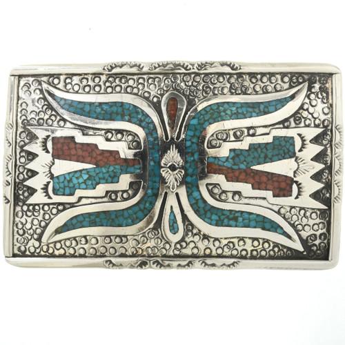 Vintage Inlaid Turquoise Coral Belt Buckle 32506