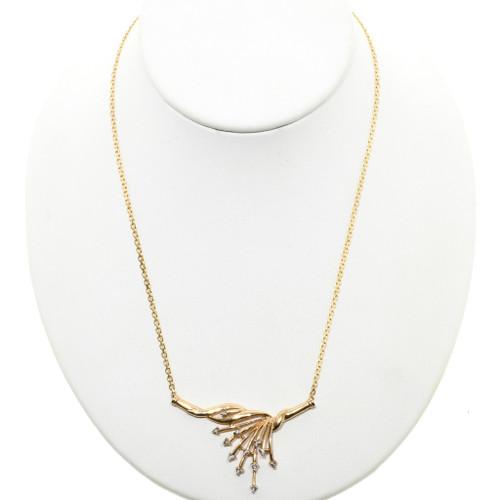 Ladies Diamond 10K Gold Vee Necklace 32513