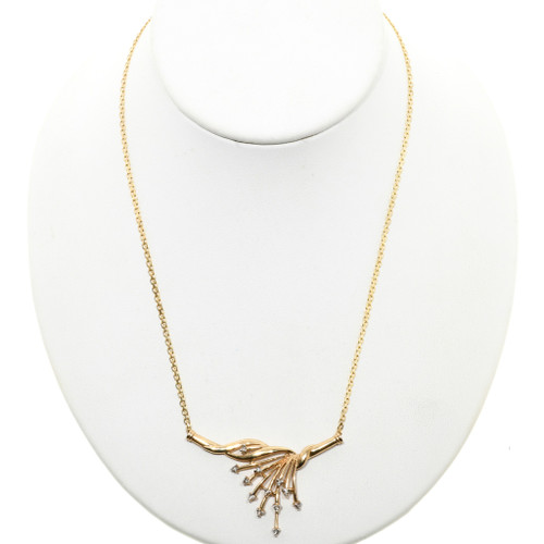 Ladies Diamond 10K Gold Vee Necklace 32513