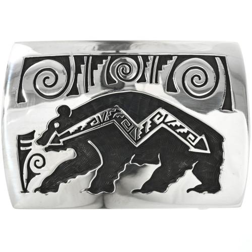 Silver Heartline Bear Belt Buckle 32520