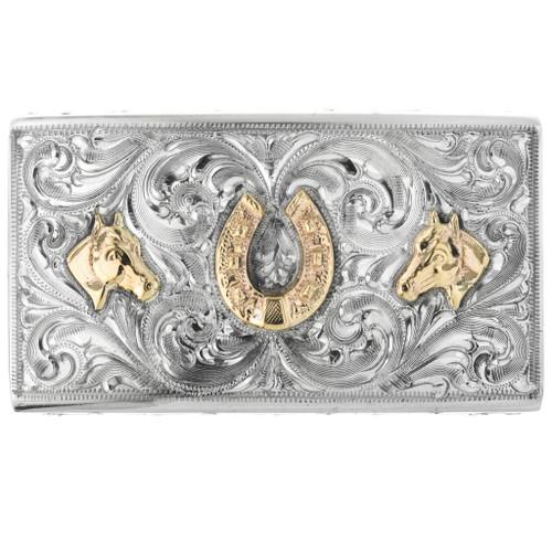 Vintage 14K Gold Silver Belt Buckle 32526
