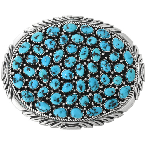 Vintage Kingman Turquoise Belt Buckle 32530
