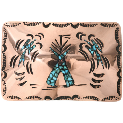 Copper Turquoise Teepee Belt Buckle 32531